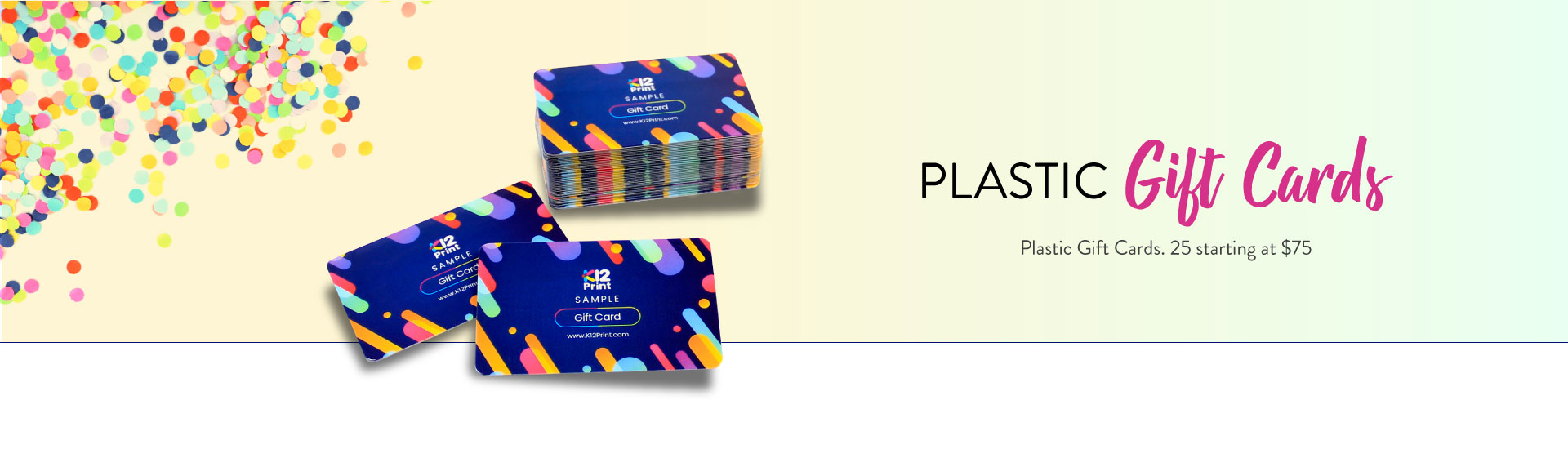 Plastic Gift Cards Banner